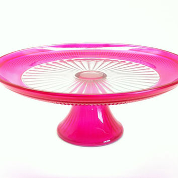 "12"" Cake Stand Hand Painted in Hot Pink"