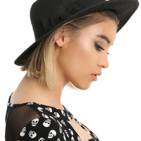 Black Straw Boater Hat With Bow