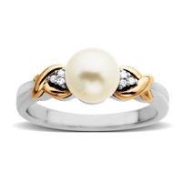 Sterling Silver and 14k Pink Gold Freshwater Cultured Pearl (7 mm) and Diamond Ring (0.03 cttw, I-J Color, I3 Clarity)
