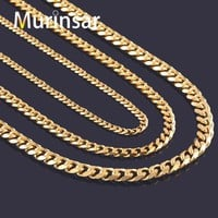 PEAPHY9 Width 3.6mm/5mm/7mm Stainless Steel Gold Chain Men Necklace 18K Gold Filled Stainless Steel Link Chain Necklace Free Shipping