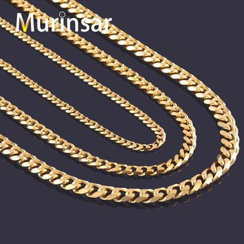 ICIKHY9 Width 3.6mm/5mm/7mm Stainless Steel Gold Chain Men Necklace 18K Gold Filled Stainless Steel Link Chain Necklace Free Shipping