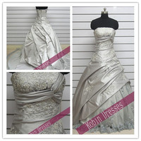 Free Shipping --- New Attractive Custom-made Strapless Long Lace Wedding Dresses Bridal Dresses