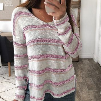 New Pink-White Striped Print Double Slit Oversize Long Sleeve V-neck Casual Slouchy Pullover Sweater