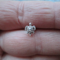 Small Turtle Tortoise Stamped .925 Sterling Silver Post & Butterfly Back Tragus Cartilage Ear Piercing Earring Helix Body Jewelry