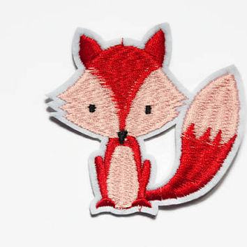 Fox Iron On Patch - Foxes Patches - Fox Badge Gift - Fox Lover Gift - Fox Applique Motif - DIY Embroidery Fox - Animal Decorative Patch