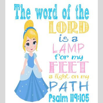 Cinderella Christian Princess Nursery Decor Wall Art Print - The word of the Lord is a lamp for my feet Psalm 119:105 Bible Verse - Multiple Sizes