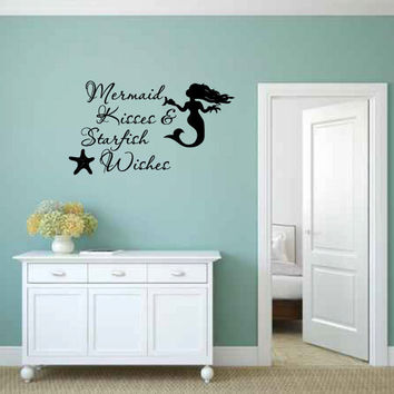Mermaid Kisses & Starfish Wishes Vinyl Wall Words Decal Sticker Graphic