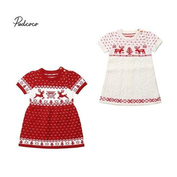 Christmas Sweater For Girls Toddler Kids Baby Girls Knitting Wool Sweater Xmas Elk Costume Crochet Dress Warm Clothing