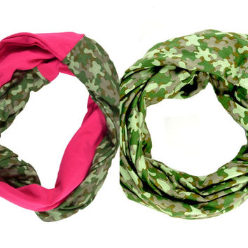 Camo Pink Infinity Scarf Women's Girls Baby Lightweight Jersey Circle Loop Print