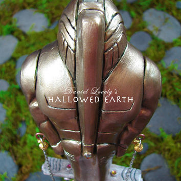 Ooak Quartz Wand - SUPREME BEING AKASHA - Golden Fifth Element Figure - Tribal Pagan Altar Wiccan Ritual - Handmade by Hallowed Earth