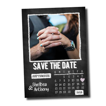 Personalized Digital File: Dave the Date- Chalkboard with calendar