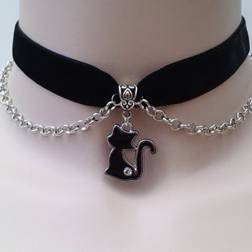 Gorgeous enamel BLACK CAT Charm & Chain  -  BLACK Velvet Ribbon Choker Necklace -wt... or choose another colour velvet from a wide choice