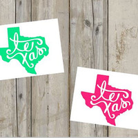 Texas State Decal - Curly Font - Texas Forever - Custom Decal - Texas Pride - Texas Sticker - Perfect for Yeti, Rtic, Cars, Binders and More