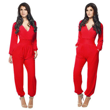 Elegant Rompers Women Jumpsuit 2016 Deep V-neck Bodysuit With Pockets Plus Size Overalls For Women Elegant Long Sleeve Jumpsuits