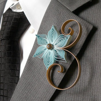 French Blue and Gold Boutonniere, Dusty Blue Fall Wedding Flower for the Groom, Mens Boutonniere Ideas, Wedding Wear for Groom