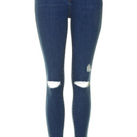 MOTO Ripped Leigh Jeans - Mid Stone