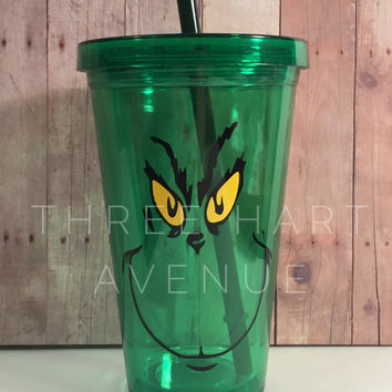 Green Grinch tumbler, 16oz BPA FREE