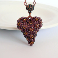 Beaded heart pendant, beadwork pendant, heart shaped pendant in purple-bronze colors
