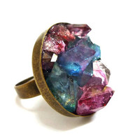 Mixed Aura Crystal Quartz Druzy Ring by AstralEYE
