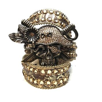 B.B. Simon Golden Pirate Head Leather Swarovski Crystal Belt