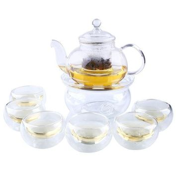 CREYU3C Heat Resistant Clear Glass Tea Pot Set Infuser Teapot+Warmer+6 Cup 1000ML