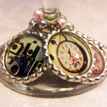 Vintage Pictures Wine Charms Bar Ware Hostess Gift Girls Night Out Camera, Clock, Key, Flower, Butterfly, Radio Charms Housewarming Gift
