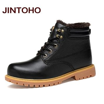 Black Shoes Genuine Leather Men Ankle Boots Italian Black Leather Boots Winter Shoes