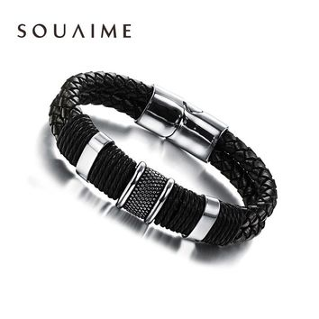 New Year Gift Handmade Genuine Leather Weaved Double Layer Man Bracelets Casua Bicycle Motorcycle Delicate Cool Men Jewelry