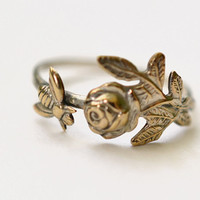 Rose and Bee Ring, Handforged Sterling Silver Ring, Hammered Silver, Flower Jewelry, Floral, Insect Ring, Animal