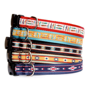Navajo Santa Fe Southwestern Native American Mexico dog collar small dog collar Large dog collar boy dog collar feather dog collar