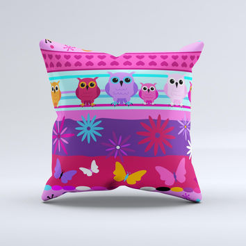 Bright Pink Cartoon Owls with Flowers and Butterflies Ink-Fuzed Decorative Throw Pillow