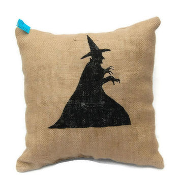Witch Halloween Pillow, Painted Burlap Pillow, Wicked Witch of the East, Wizard of Oz Pillow, Decorative Pillow,Halloween Decor,Witch Pillow