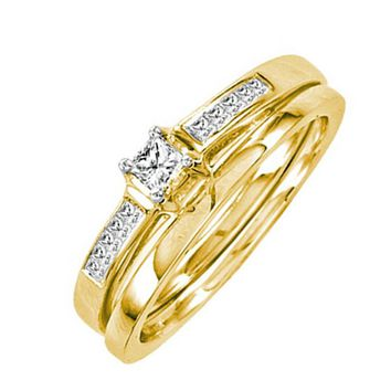 14k Yellow Gold Princess Cut Diamond Engagement Bridal Ring Set