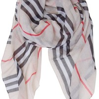 Humble Chic Women's Heritage Scarf - Tan - Lightweight Striped Check Plaid Shawl
