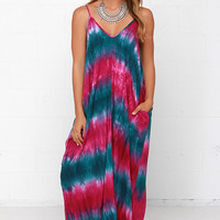 Yours Tule Teal and Fuchsia Tie-Dye Maxi Dress