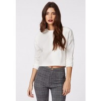 Therese Rib Long Sleeve Sweat White - Tops - Sweatshirts & Hoodies - Missguided
