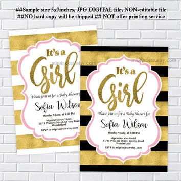 baby Shower, it's a girl, girl baby shower, pink, black and gold invitation, white and gold invitation,  party invitation - card 1221