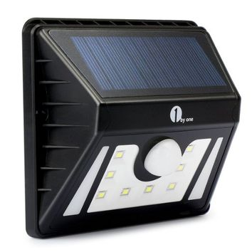 1byone 8 LEDs Weatherproof Solar Powered Outdoor LED Light, 3 Different Modes with Security Motion Sensor, Black