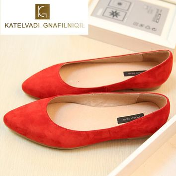 Big Sale Summer Leather Flats Womens Shoes Suede Shoes Woman Ballet Flats Fashion Casual Shoes Suede Flats Leather Women Loafers