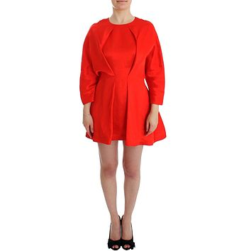 Red Mini Linen 3/4 Sleeve Sheath Dress