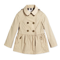 Skirted Trench Coat, Beige, Size 4Y-14Y - Burberry