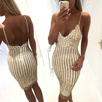 Sexy V collar sling bag hip fashion sequins dress