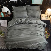 White Gray Stripes Fashion High Quality Bedding Set King Queen Full Twin Size  Quilt Cover Bed Linen Pillowcase Bedspread