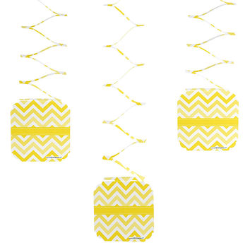 Baby Shower - Chevron Yellow - Hanging Decorations- 6 ct