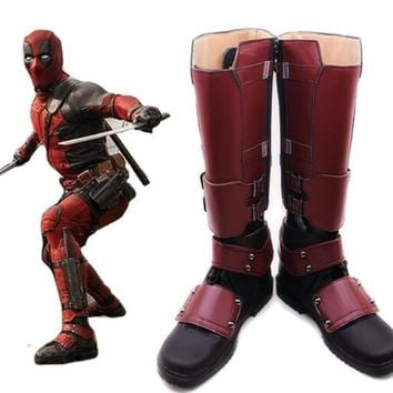 Deadpool From X-men Cosplay Superhero X-Men Deadpool Boots Shoes High Quality PU Custom Made