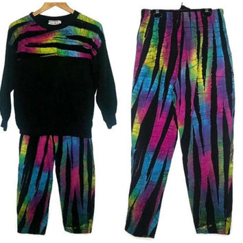 90s Vintage Sweater and Pants Matching Set sweatsuit Neon Colors Top Fresh Prince of Bell Air Saved by the Bell Hip Hop Small Bottom Medium