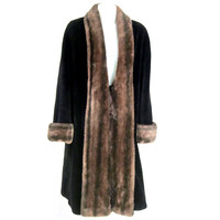 1940s 50s Cinchilla Trim Faux Fur Coat-Very Warm Vegans Delight!