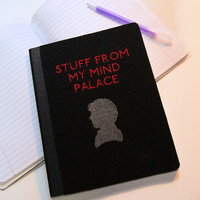 Sherlock Stuff from my Mind Palace -  Embroidered Blank Journal Notebook MTCoffinz