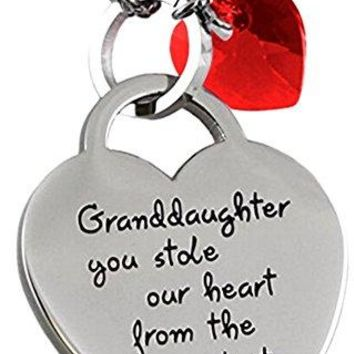 """AUGUAU """"Granddaughter You Stole Our Heart"""" Inspirational Sentimental Message Easter Necklace 