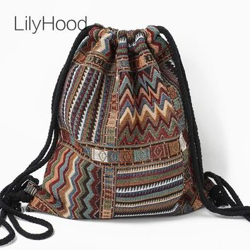 Women Fabric Backpack - Bohemian Chic Ethnic Drawstring Bag